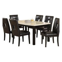Homelegance - Homelegance Archstone 7 Piece 60 Inch Dining Room Set with Black Chairs - Contemporary design, sleek seating and the combination of black finish with white accents are all the ingredients you need to create a stylish setting for exceptional dining. The white faux marble top pairs perfectly with a cut out center chair back, the color contrast and stylish design create a rich visual enhancement. Chairs are available in white bi-cast vinyl and black bi-cast vinyl.