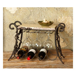 "Bella Toscana - Bella Toscana Wine and Glass Rack - The Marble and Wrought Iron Wine Rack is deemed unique and one of a kind because of its hand forged iron and hand painted details. This wine bottle holder can hold 6 wine glasses and4 bottles of wine. Use the rich marble top, a symbol of Bella Toscana, to display the cheeses, cakes or fruits at any gathering. * Leveled for complete stability * Non-Marring Feet * 21"" x 10"" x 15""H"