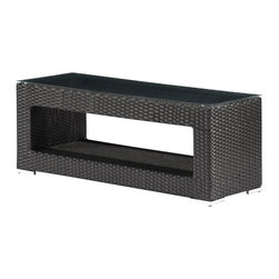ZUO - Zuo Algarve Outdoor Coffee Table - A mod shaped groovy coffee table for your outdoor space. The synthetic weave is UV treated and the rectangular table is topped with tempered glass. Spend more time outside reading your paper, paying bills or just enjoying the sunshine. This table is also a great addition for patio parties or barbecues.