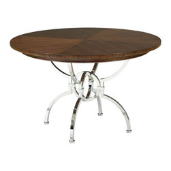 Kathy Kuo Home - Hilda Modern Steel Walnut Round Dining Table - Gather your noble friends and family at this round table for meals, games or conversations. Warm walnut is finished in  dark brown, adding an aged element and contrasting with the polished stainless steel base. Intersecting, geometric shapes form an intricate, four-legged base for this intriguing, eclectic table.