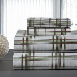 None - Sage Plaid Flannel Sheet Set - Dress up your bed and pillows in matching fabric with this elegant flannel sheet set. This set includes a sheet and two matching pillowcases, sewn out of 100 percent cotton and overlaid with a stylish plaid pattern that is easy on the eye.