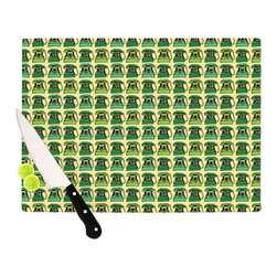 """Kess InHouse - Holly Helgeson """"Vintage Telephone"""" Green Pattern Cutting Board (11"""" x 7.5"""") - These sturdy tempered glass cutting boards will make everything you chop look like a Dutch painting. Perfect the art of cooking with your KESS InHouse unique art cutting board. Go for patterns or painted, either way this non-skid, dishwasher safe cutting board is perfect for preparing any artistic dinner or serving. Cut, chop, serve or frame, all of these unique cutting boards are gorgeous."""