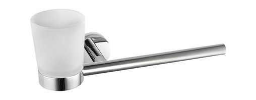 WS Bath Collections - Napie Bathroom Holder and Towel Bar w Frosted - Made by Lineabeta of Italy. Product Material: Polished Chrome. Dimensions: 3.9 in. W x 12.6 in. L x 4.1 in. H
