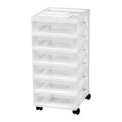 IRIS USA, Inc. - 6-Drawer Cart with Organizer Top and Casters - Organize with the updated, sleek design 6-drawer rolling cart makes great for use in the home, office, or hobby room. Drawers are clear to easily identify contents and deep for added storage capacity. Includes casters and built-in drawer stops.