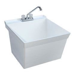 Swan - Swan Utility Sinks 23-3/8 in. x 21-5/8 in. Composite Wall Mount Laundry Tub - This 23.375 in. x 21.625 in. Veritek wall mount laundry tub is designed to stand up to everyday use. Mold and mildew resistant this laundry tub has no surface coating to chip or crack. The single bowl tub has an 18-gal. capacity and is perfect for the laundry room or work area. Includes an installed drain. Color: White.