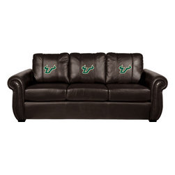 Dreamseat Inc. - University of South Florida NCAA Chesapeake Brown Leather Sofa - Check out this Awesome Sofa. It's the ultimate in traditional styled home leather furniture, and it's one of the coolest things we've ever seen. This is unbelievably comfortable - once you're in it, you won't want to get up. Features a zip-in-zip-out logo panel embroidered with 70,000 stitches. Converts from a solid color to custom-logo furniture in seconds - perfect for a shared or multi-purpose room. Root for several teams? Simply swap the panels out when the seasons change. This is a true statement piece that is perfect for your Man Cave, Game Room, basement or garage.