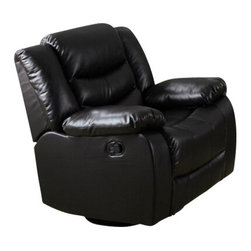 "Acme - Torrance Espresso Bonded Leather Standard Motion Recliner Chair - Torrance espresso bonded leather standard motion recliner chair with overstuffed seats and arms. This recliner features a bonded leather upholstery with a release latch on the side of the recliner, this is a manual recliner you need to push the footrest back to lock it in. Recliner measures 38"" x 37"" x 39""H. Some assembly may be required."