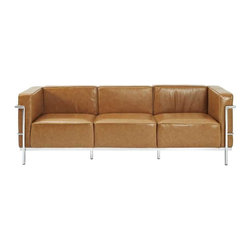 Modway - LC3 Sofa in Tan - Urban life has always a quandary for designers. While the torrent of external stimuli surrounds, the designer is vested with the task of introducing calm to the scene. From out of the surging wave of progress, the most talented can fashion a forcefield of tranquility. Perhaps the most telling aspect of the Charles series is how it painted the future world of progress. The coming technological era, like the externalized tubular steel frame, was intended to support and assist human endeavor. While the aesthetic rationalism of the padded leather seats foretold a period that would try to make sense of this growth. The result is an iconic sofa series that became the first to develop a new plan for modern living. If previous generations were interested in leaving the countryside for the cities, today it is very much the opposite. If given the choice, the younger generations would rather live freely while firmly seated in the clamorous heart of urbanism. The Charles series is the preferred choice for reception areas, living rooms, hotels, resorts, restaurants and other lounge spaces.