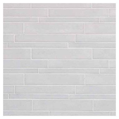Casa Mood - Vetro Neutra Listello Sfalsato Glass Mosaic, Bianco Lux, 1 Sheet/.56 Square Feet - Sold by the Sheet - .56 square feet per sheet