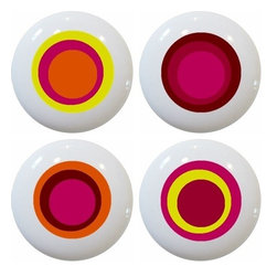 Carolina Hardware and Decor, LLC - 4 Red Retro Circle Ceramic Knobs - Set of four new 1 1/2 inch ceramic cabinet, drawer, or furniture knobs with mounting hardware included. Also works great in a bathroom or on bi-fold closet doors (may require longer screws). Item(s) can be wiped clean with a soft damp cloth. Great addition and nice finishing touch to any room!