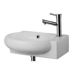 ALFI brand - ALFI brand AB107 Small Wall Mount Porcelain Bathroom Sink - A simple small porcelain wall mounted bathroom sink is sometimes harder to find than you might think. This Alfi brand sink model offers a modern sink design in a compact size and convenient shape. Perfect for upgrading small bathrooms or powder rooms. *Faucet not included.