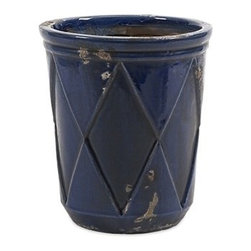 "IMAX - Aurora Medium Planter - Our simple drum shaped Aurora planter with embossed diamond pattern and indigo glaze makes a splendid table top display for cut flowers. Available in small, medium and large. Item Dimensions: (8.5""h x 7.25""w x 7.25"")"