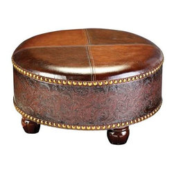 Howard Elliott Round Patchwork Ottoman - This Ottoman features wooden feet. The top is upholstered in a century brown and dark caramel faux leather topstitched patchwork. It is accented with antique gold nailhead studded borders and a gusset of embossed distressed burgundy faux leather.