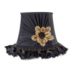 Brandi Renee Designs - All Lit Up Black Tie Only Lamp Shade - Our All Lit Up Black Tie Only lampshade is truly a high-class affair. Featuring a gathered fabric front with a gold floral bow and rhinestone centerpiece, along with elaborate black fringe across the bottom, this lampshade is a major statement piece for any room. Like every BRDesign lampshade, our All Lit Up Black Tie Only lampshade is handcrafted from the finest quality materials.