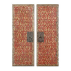 Old World Red And Gold Door Panels Wall Decor Set of 2 - *These vibrant oil reproductions feature distressed wood tone edges and aged metal door handles.