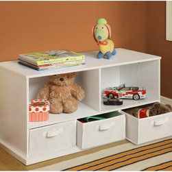Badger Basket - Badger Basket Shelf Storage Cubby with Three Baskets - White - 90801 - Shop for Childrens Toy Boxes and Storage from Hayneedle.com! Because everything in your home needs a home of its own the Badger Basket Shelf Storage Cubby with Three Baskets - White is like a high-rise apartment for your things. This versatile storage unit features a pair of open storage compartments that sit above a trio of baskets that each have a cubby of their own. The baskets are covered in an appealing cotton/polyester fabric with internal supports of industrial cardboard making them ideal for media storage or just as a resting place for small objects that need a home. Each basket also sports convenient handles and can be removed for added storage around your home. The body of the cabinet is crafted from durable warp-free engineered woods that are given a snowy white finish that can complement any home decor style. This unit is ideal for children as it offers plenty of storage at a height that any child can navigate and if you like the look but wish that there was more of it this unit is also stackable. Some assembly is required but detailed instructions are included and all you need is a screwdriver.Badger Basket CompanyFor over 65 years Badger Basket Company has been a premier manufacturer of baskets bassinets bassinet bedding changing tables doll furniture hampers toy boxes and more for infants babies and children. Badger Basket Company creates beautiful and comfortable products that are continually updated and refreshed bringing you exciting new styles and fashions that complement the nostalgic and traditional products in the Badger Basket line.