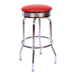 Richardson Seating - Richardson Seating Retro 1950s Chrome Swivel Bar Stool with Red Seat-24 Inch - Richardson Seating - Bar Stools - 19715RED24 -Richardson Seating Floridian's Floridian collection ships within 2 business days as quick ship items. The 50's retro look bar stool collection is back with added comfort and stylish design. The Floridian collection are commercial bar stools made in the USA, and equally ideal for residential use.