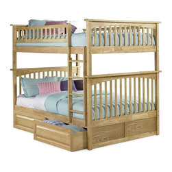 Atlantic Furniture - Atlantic Furniture - Columbia Full Over Full - NOTE: ivgStores DOES NOT offer assembly on loft beds or bunk beds. Includes full upper and lower panels, rails, ladder clip-on, slat kits and raise panel drawers. Mattress not included. Solid hardwood Mortise & Tenon construction. 26-Steel reinforcement points. Made of premium, eco-friendly hardwood with a 5-step finishing process. Designed for durability. Guard rails match panel design. Meet or exceed all ASTM bunk bed standards, which require the upper bunk to support 400 lbs.. Pictured in Natural Maple finish. 1-Year manufacturer's warranty. Clearance from floor without trundle or storage drawers: 11.25 in.. 80.5 in. L x 58.38 in. W x 68.13 in. H. Raise panel drawers: 74 in. L x 24.38 in. W x 12 in. H. Bunk Bed Warning. Please read before purchaseThe Columbia bunk bed features a classic Mission style design with subtle curves and solid post construction.