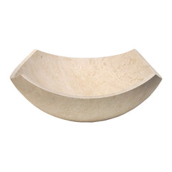 Eden Bath - Eden Bath S027BT-H Arched Edges Bowl Sink - Honed Beige Travertine - The arched edges bowl sink is a perfect balance between the ultra chic Zen sinks offered by Eden Bath and a simple bowl shaped sink. This particular stone sink features a honed finish  which gives it a duller  more matted look than its polished counterparts. The arched edges bowl sink still provides a modern serene look with its clean lines and rising arches  while offering enough depth to be completely practical for a bathroom or powder room that is often used.