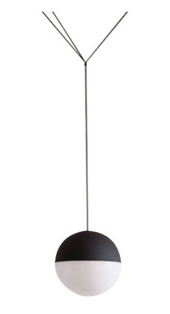 Flos - Flos String Lights - These flexes are hung with black conical or spherical pendants, fitted with LED light sources.  The on/off switch is electronic with optical mechanism. on/off and dimmer operated by means of Bluetooth Android and Apple remote control application.     The String Lights by Michael Anastassiades for Flos resemble infrastructure like telegraph wires or European street lighting, with the thin black electrical cord drawing geometric shapes in the air.  The on/off switch is electronic with optical mechanism. on/off and dimmer operated by means of Bluetooth Android and Apple remote control application.     Manufacturer: Flos   Designer: Michael Anastassiades    Made in:  Italy   Dimensions:        Lamping:   1 LED ARRAY 2700K 1910 lm CRI90 - 26W     Material:   die-cast aluminium