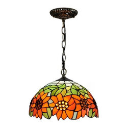 "ParrotUncle - 12"" Sunflower Tiffany Glass Pendant With Chain Cord - 12"" Sunflower Tiffany Glass Pendant With Chain Cord"