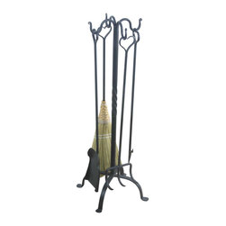 """Renovators Supply - Fireplace Tools Black Wrought Iron 4 Piece Fireplace Tool Set - Fireplace Accessories: Hand forged iron pireplace tools. Set includes log roller, shovel, poker and corn broom.  Stand measures 32 1/2"""" high with a 17"""" diameter base."""