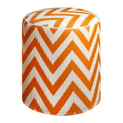 Fab Habitat - Laguna Orange Peel/White Pouf - Chic chevrons are showcased in this sophisticated, ecofriendly pouf. This handmade two-toned round ottoman was crafted from recycled materials and will look so mod in your living room or as the stool to your vanity area.