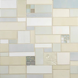 """Glass Tile Oasis - Fresh Air Unique Shapes Cream/Beige Tapestry Handmade Tile Glossy Ceramic - Sheet size:  18"""" x 18""""        Tile Size:  5/8"""" x 5/8""""        Tiles per sheet:  65        Tile thickness:  1/4""""        Grout Joints:  1/8""""        Sheet Mount:  Plastic Face        Handcrafted Ceramic Tile with Glass Inserts       INTERLOCKING TILE       Sold by the sheet    -  Shade and size variations are inherent characteristics in all handcrafted ceramic tile. Orders ship within 2-3 weeks."""