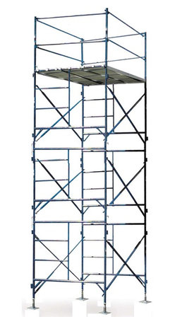 Buffalo Tools - Scaffold Three Story Stationary Scaffold Tower - Three Story Stationary Scaffold Tower by Scaffold Homeowners and contractors alike will appreciate the Three Story Stationary Scaffold Tower Kit. Easily and safely get 15 feet off the ground for painting, cleaning windows, maintaining roofs or cleaning gutters. Use for hanging siding, laying brick, overhead door installation, or even mounting signs. This Three Story Stationary Scaffold Tower unit includes everything you need to build a safe and secure exterior scaffold system, from the base plates to the guard rails. Three walk boards, constructed of wood and aluminum, lay side by side to create a large 7 foot by 4 foot, 9 inch working platform. The frames, guard rails and braces are made of durable 1- 5/8 inch steel tubing. This scaffold unit can be assembled on the fly, and torn down when need arises to move to another job site. This unit is capable of handling a load capacity of up to 750 lbs. Meets OSHA and ANSI scaffolding regulations. Multiple units may be stacked safely when tied off every 20 feet.  Scaffold Tower Set Includes: 6 Pieces 5 x 5 Foot Standard Scaffold Frame (GSF55) 6 Pieces 7 Foot Cross Brace (GSCB7) 4 Pieces 40 Inches Guard Rail Post (GSGP) 4 Pieces 7 Foot Guard Rail (GSGR7) 4 Pieces 5 Foot Guard Rail (GSGR5) 3 Pieces 7 Foot x 19 Inches Wood/Aluminum Walk Board (GSWDB) 4 Pieces Base Plate (GSBP)Intended for exterior use, maximum load capacity: 750 lbs Overall assembled size: 7 feet long by 5 feet wide by 18 feet, 4 inches high, total combined weight: 443 lbs Wood/aluminum walk boards sit 15 feet off the ground, large 7 foot long by 4 foot, 9 inches wide working platform Blue powder coat finish, heavy duty 1 5/8 inch diameter steel construction Meets OSHA and ANSI scaffolding regulations