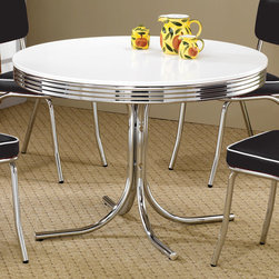 "Coaster - Round Retro Dining Table in White - This retro chrome plated round table displays distinctive styling. Table features a white finish and chrome rimmed top.; Contemporary Style; Finish: White; No assembly required.; Dimensions: 42""L x 36""W x 29.5""H"