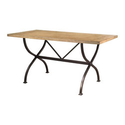 Hillsdale - Rectangle Counter Height Table - Wood has a rustic desert tan finish. Dark grey metal. 36 in. H x 72 in. L x 40 in. D