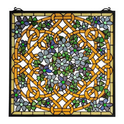 Meyda Tiffany - Meyda Tiffany Shamrock Garden Tiffany Window X-72099 - From the Shamrock Garden Collection, this hand-crafted Meyda Tiffany window features an intricate woven frame with shamrocks and flowers. The botanical adornments are complimented by luxurious shades of purple and green, while golden-toned roping and a clean frame pull the look together.