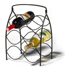 Spectrum Neko 6 Bottle Black Wine Rack - The Spectrum Neko 6 Bottle Black Wine Rack works ideally for floor table or countertop use. Holds up to 6 bottles of your favorite wine to keep handy for anytime use. Metal construction with black finish. Curved bottle holders cradle each bottle in place. Designed with quick and easy carry handle. Dimensions: 11L x 7.25W x 15.75H inches. About Spectrum Diversified DesignsSpectrum Diversified Designs based out of Cleveland Ohio operates out of a 130 000 square foot distribution center and provides services to nearly every continent on the globe. With a specialized team of experts in art design and logistics Spectrum consistently provides top-quality products that are functional attractive and cost-effective. Spectrum is dedicated to providing you with only the best in home accessories. From the kitchen to the bath and all in between you'll find exactly what you need for all of your home needs. The possibilities are endless.