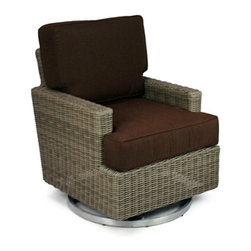 Patio Heaven Palisades Swivel Rocker - Our Patio Heaven Palisades Swivel Rocker reflects the style, class and comfort every patio should be able to boast. The low arm is perfect to place your beverage or snack on as you relax on the custom made plush cushion. To ensure a lifetime of relaxation, the USA made cushions are constructed of weather-resistant Sunbrella fabric, a high-density foam and wrapped in durable Dacron for extra comfort that you can enjoy year round.About Patio HeavenWith over 40 years of experience in working with top manufacturers and designers, Patio Heaven brings you signature collections with both classic and modern design elements. Drawing inspiration from the ocean to the mountains and everywhere in between, Patio Heaven lets you bring your sense of style to your outdoor living space. Their furniture looks great in any season and any region. With furniture from Patio Heaven, you don't just pick out patio furniture ñ you choose a lifestyle.