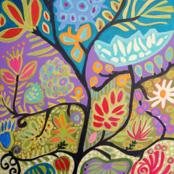 Bohemian Original Abstract Flower Painting by Karen Fields Gallery - I love Karen Fields' use of color and design in her artwork. I'd love to use one of her paintings in a little girl's room one day.