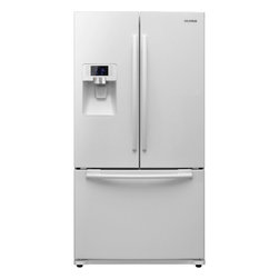 """Samsung - RFG237AAWP 36"""" 23 cu. ft. Counter-Depth French Door Refrigerator with Twin Cooli - The Samsung Appliance RFG237AA 2251 Cu Ft French door refrigerator in stainless steel keeps your food fresher longer with Twin Cooling Plus technology Ice maker produces 66 lbs of ice per day Enjoy tremendous flexibility in food storage with slide-in..."""