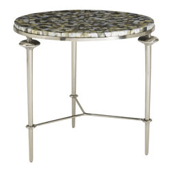 Aquarius - Aquarius Silver Shell Lamp Table in Antique Silver Finish - Aquarius - End Tables - 014211803 - About the Aquarius Collection: