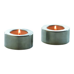 DESU DESIGN - Desu Design 1:2 Candleholders, Set of 4 - These sleek candle holders come in a set of four, and will fit anywhere in your home that needs a touch of ambience. The aluminum short pillars fit standard tea light candles, and reflect the light of the warmth held within.