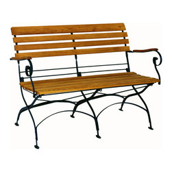Haste Garden - Rebecca Folding Bench - - The black frame is made from steel, powder-coated and baked-on enamel paint for outdoor use.