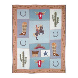 Patch Quilts - Cowgirl Queen Quilt - -Constructed of 100% Cotton  -Machine washable; gentle dry  -Made in India Patch Quilts - QQCGRL