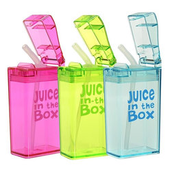 Juice in the Box Reusable Juice Box - Pack reusable drinking boxes in your kids lunches instead of disposable ones. These are fun and practical.