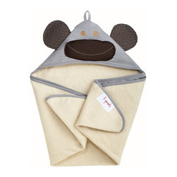 3 Sprouts - Monkey Gray Cotton Hooded Towel - Monkey Gray Cotton Hooded Towel