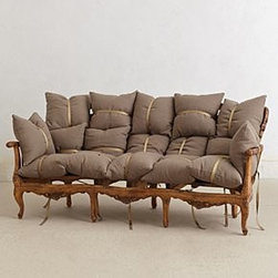"Anthropologie - Deconstructed Sofa - Includes seventeen pillowsPalme finishLinen, polyester upholsteryKiln-dried hardwood frame; polyester fillProfessionally clean33.5""H, 75""W, 38.5""DSeat: 18""HHandcrafted in USA"