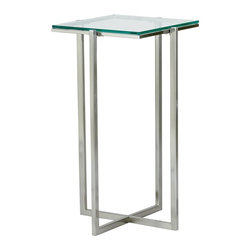 Adesso - Glacier Med Pedestal in Satin Steel Finish - The Medium Height Pedestal with Steel Frame and Glass Top stands 24.5 inches high and is supported by a sturdy satin steel frame that will complement any modern room setting.  This stylish pedestal features a quarter-inch thick clear tempered glass top.  A medium height makes this glass-topped pedestal table highly customizable and usable, while keeping it from taking up too much space in your living room or kitchen.  The base is satin steel, and glows lightly beneath the thick, tempered glass above. * 0.25 in. Tempered clear glass top with Satin steel legs and frame. 14.25 in. Sq. x 24.5 in. H. Glass: 12.5 in. Sq.. Criss-crossed base: 10.5 in. W
