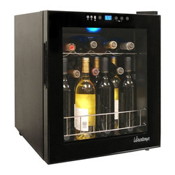 Vinotemp - Butler Touchscreen Wine Cooler - Black color. Holds upto 15 bottles. 17 in. W x 19 in. D x 20.37 in. H (39.68 lbs.). Made in USA. Lead time: 3 to 5 days. Easy-to-use touch screen control panel and digital temperature display. Sleek design with black body and door trim. Glass door with magnetic seal and recessed handle. Wire racking above small bulk storage space. Rear-vented unit for freestanding installation. Control panel safety lock to disable access. Adjustable feet for leveling. Interior light to illuminate bottles. Varietal indicator. Designed with front-vented exhaust. Temperature range: 39 - 65 degree F. Warranty. Winmate Cooling Installation InstructionsThis unit is an ideal choice for the wine enthusiast who wants to store their small to medium sized wine collection.