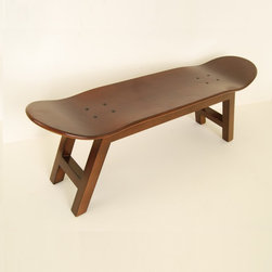 "Skateboard Stool ""Nollie Flip"" Walnut color by Skate-Home - Stool skateboard with wooden frame and original skateboard deck. ""Nollie Flip"" walnut color."