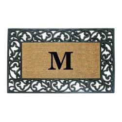 "Creative Accents - Monogrammed Wrought Iron & Rubber Door Mat, Acanthus - 22""x36"" - This striking, durable mat has thousands of coir bristles embedded in a rubber base that help capture and remove dirt and moisture from shoes. The nonskid rubber backing keeps the coir from shedding and keeps mat in place. This hand-stenciled monogrammed door mat makes a welcoming statement. Classic acanthus scroll border design. Features a coir fiber mat tucked within a durable molded rubber frame."