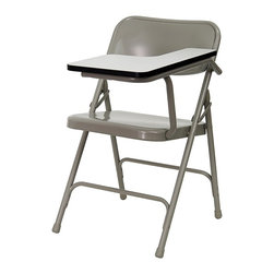 Flash Furniture - Premium Steel Folding Chair w Left Hand Writi - Ideal for schools, training classes, or coaches meetings, this ingenious folding chair features a built in left-handed writing surface. Constructed of a durable high-pressure laminate, it feels smooth and makes a sturdy writing table when positioned upright. The deluxe folding chair is built extra-tough out of 18-gauge steel designed with double stretchers for added strength. Remember the quantity displayed represents pairs, as these great chairs are sold in sets of two only. Left hand positioned, high pressure laminate grey tablet arm surface with black edging. Heavy duty. Double hinged for extra durability. Grey finish. Frame constructed of .22 mm x 1.2 mm round steel pipe. Rear leg strengthened with support crossbar and 2 U - brace rivets. Double support cross rails for additional strength. Riveted steel components. 18 - Gauge steel. This item must be ordered in increments of 2 chairs. Seat: 15.75 in. W x 15.75 in. D. Back: 18 in. W x 14.25 in. H. Tablet Arm Outer Width: 12 - 1/4 in. W. Inner Width: 9 - 1/2 in. W. Depth: 15 - 3/4 in. D (45 lbs.). Overall: 18.5 in. W x 19.75 in. D x 30 in. HThe 309 series tablet arm chair is top of the line, featuring world - class components. The 309 series offers true value. Constructed of premium grade steel, these durable tablet arm chairs will withstand years of use. Commercial grade folding chair with folding grey tablet arm.