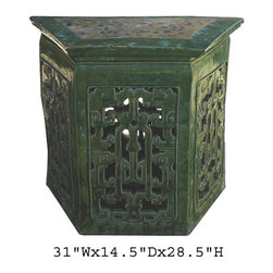 Chinese Green Clay Trapezoid Pedestal Table Garden Stand - This is a unique hand made clay / ceramic material pedestal table. It has open oriental Ru-Yi scroll pattern at the front. It is glazed with natural green color. Its material makes it good for both outdoor and indoor. Especially, its back has Chinese coin design on it.