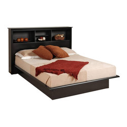 Prepac - Prepac Black Sonoma Double / Full Bookcase Platform Bed - Prepac - Beds - BBD5475KKIT - The Black Sonoma Bookcase Platform Bed has composite wood construction in a classic black finish. It features clean simple lines and decorative moldings to prevent the mattress from shifting. This Double/Full size bookcase platform bed has a flat surface to eliminate the need for a box spring and the bookcase headboard allows you to place all your bedtime necessities within arms reach. With contemporary design elements the Sonoma Bookcase Platform Bed is the ideal central fixture in your bedroom. Designed to complement many home decor styles the Black Sonoma Collection by Prepac offers great functionality and comfort. This collection features contemporary styling with a streamlined design in a classic black finish. Together with a vast array of beds and storage options the Prepac Black Sonoma Collection will be a welcome addition to your home.